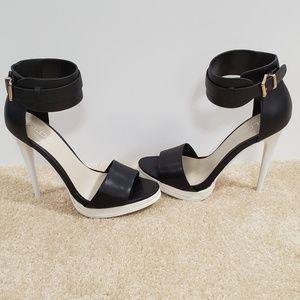 "Aldo 5"" Open Toe White & Black Heels"
